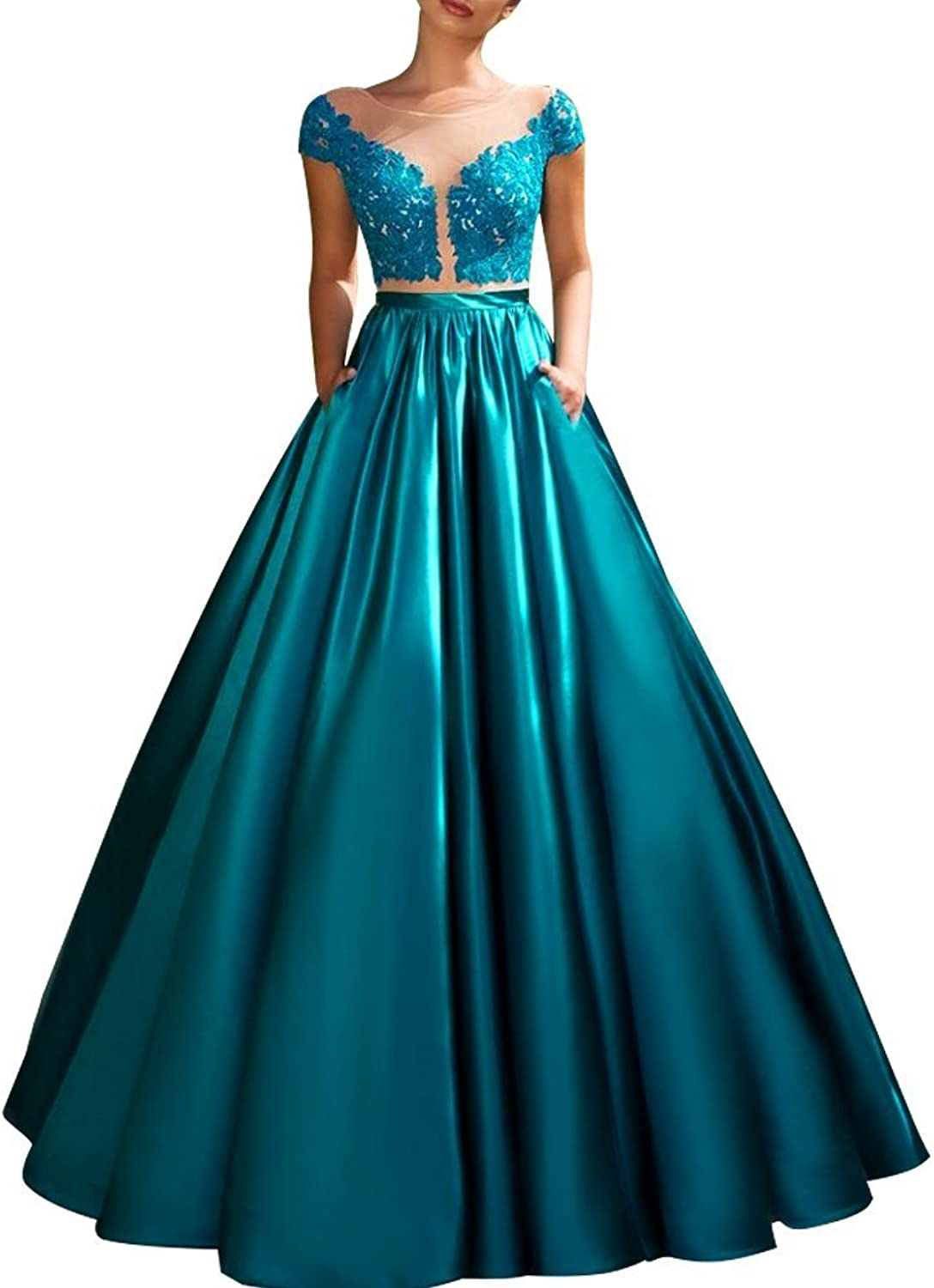Homdor Elegant Teal Women's Evening Dress With Lace s Illusion Formal Prom Dresses
