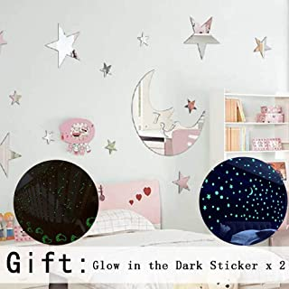 Stars DIY Mirror Wall Stickers Home Decoration Living Room Bedroom Bathroom Glow in The Dark Stars Stickers