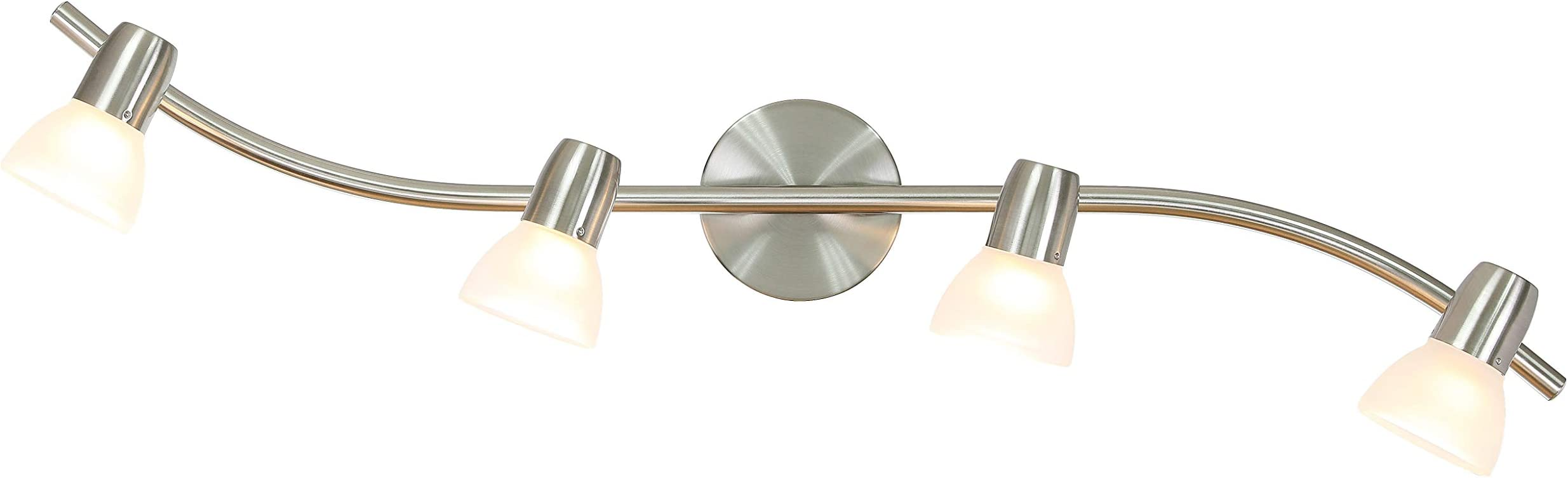 XiNBEi Lighting Track Light, 4 Light Kitchen Track Lighting, Modern S-Shaped Ceiling Track Light Bar Brushed Nickel Finish XB-TR1223-4-BN