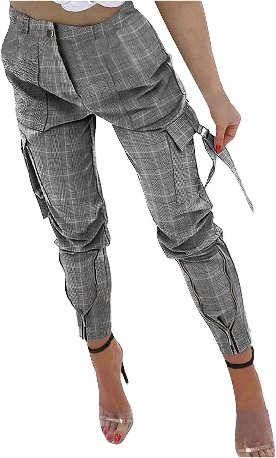 NREALY Women's Cargo Pants Color Block Skinny Zipper Plaid Trousers with Pocket