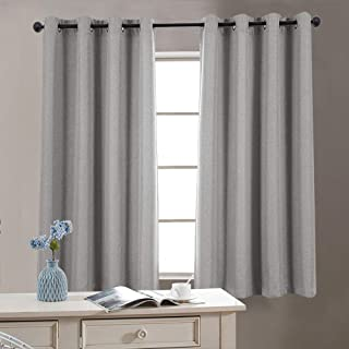 jinchan Room Darkening Window Curtain Panels for Bedroom Curtains for Living Room Linen Look Textured Drapes Single Panel 72 Grey