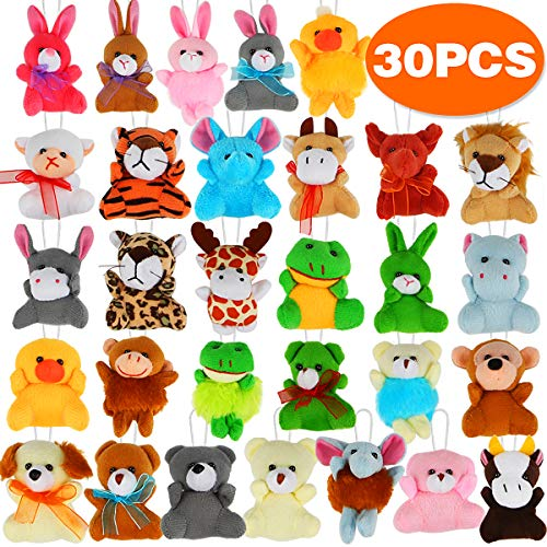 30 Pack Mini Plush Animals Toys Set, Aitbay Small Stuffed Animals Keychain Set for Party Favors, Kids Easter Eggs Toys, Easter Basket Stuffers Fillers, Prize Box Toy Assortment for Classroom Rewards