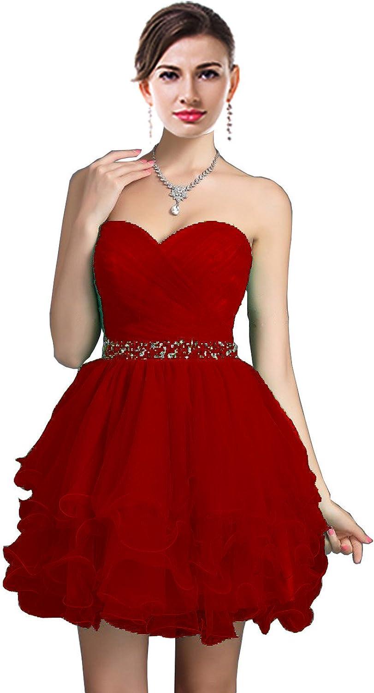 MaliaDress Short Sweetheart Rhinestone Tulle Homecoming Dress Prom Gowns M021LF