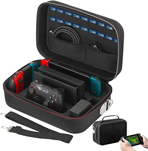 Vikena Nintendo Switch Game Deluxe Travel and Storage Case ,Game Carrying Case fit for Switch Pro Controller,Poke Bal...