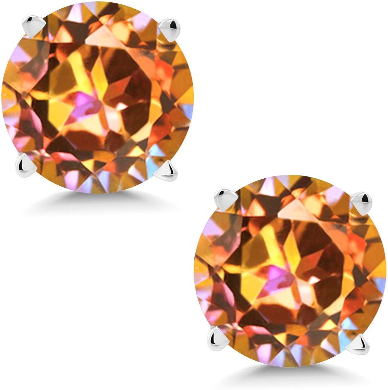 2.00 Ct Round 6mm Ecstasy Mystic Topaz 14K White gold Stud Earrings