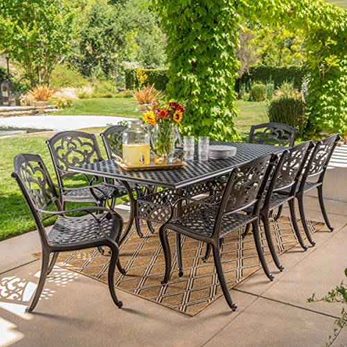 Christopher Knight Home 300676 Ariel 9 Piece Outdoor Cast Aluminum Dining Set | Rectangle | Perfect for Pat