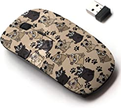2.4G Wireless Mouse with Cute Pattern Design for All Laptops and Desktops with Nano Receiver - Adorable Beige Pug Puppies