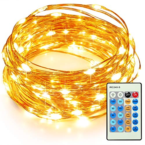 TaoTronics 33ft 100 LED String Lights TT-SL036 Dimmable with Remote Control, Waterproof Christmas Decorative Lights for Bedroom, Patio, Garden, Parties, Wedding. UL588 and TUVus Approved(Warm White)