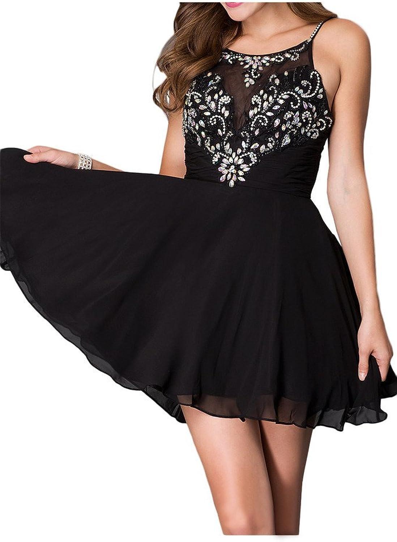Avril Dress Spaghetti Straps Short Rhinestone ALine Homecoming Cocktail Dress