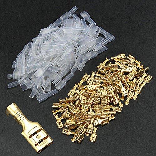 Conector hembra de pala de terminales de crimpado de 2,8 mm/4,8 mm, 6,3 mm, 100 unidades, 150 unidades y 270 unidades y manómetro aislante para ... de coche de latón, Dorado,...