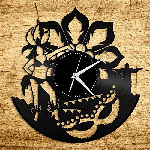 Rio Carnival Reloj de Pared de Vinilo Diseño único Habitación para niños Decoración navideña Diseño Vintage Oficina Bar Habitación Decoración para el hogar Regalo para Amantes de la música r
