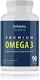 Athletic Greens Omega 3 Fish Oil - 1,300mg Per Serving - 672mg EPA and 448mg DHA Per Serving - 100% Sourced from Wild Caught Small Fish (90)