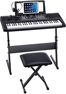Kuyal On Stage Z-Shape Adjustable keyboards Stand with Piano Benches-Black(Z-Shape)