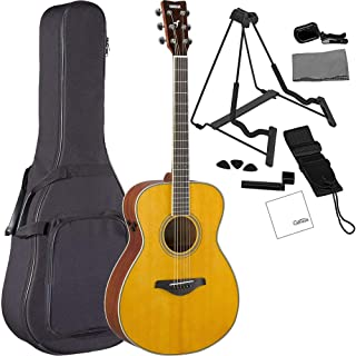 Yamaha FS-TA VT TransAcoustic Concert Acoustic-Electric Guitar Vintage Tint Bundled with Gig Bag, Stand, Tuner, Strap, Guitar Picks, String Winder and Polishing Cloth