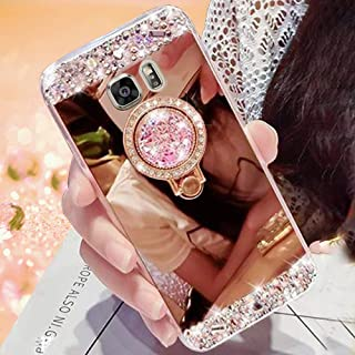 for Samsung Galaxy S6 Edge Case Pepmune Luxury Glitter Rhinestone Mirror Back Phone Case with Diamante Kickstand Ring Holder TPU Bumper Mirror Cover Cases for Samsung Galaxy S 6 Edge,Diamante