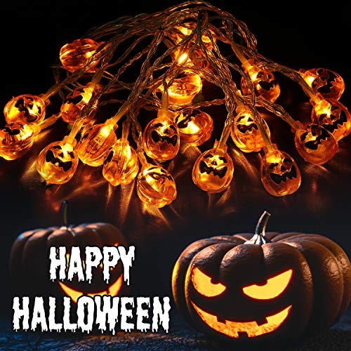 OUSFOT Kürbis Lichterkette Batteriebetrieben 20er LEDs Halloween Deko Außen- & Innenbeleuchtung 318CM