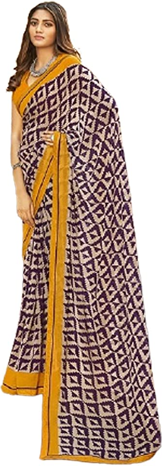 MULTI Indian Woman fancy Printed Georgette Sari Designer Summer Soft Saree Contrast Blouse 6221