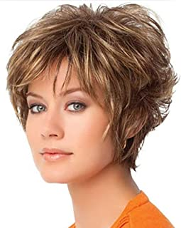Amazon.com: Wig Female New Brown Straight Hair Short Hair Mixed Color Dyed Short Wig: Health & Personal Care