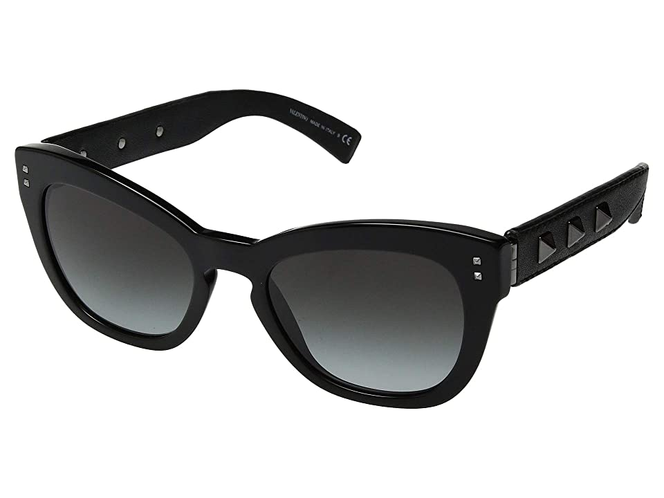 Valentino 0VA4037 (Black/Black Leather/Smoke Gradient) Fashion Sunglasses