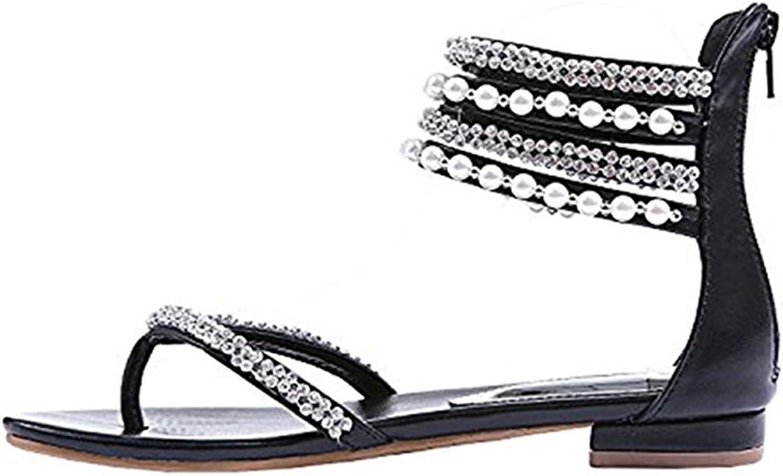 Women's Flat Sandals Rhinestone Pearl Decoration Elegant Temperament Ladies Flat Sandals Daily Apartment Flat shoes Beach Sandals (color   Black, Size   6 US)