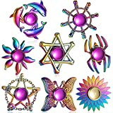 Lewtemi 8 Pieces Rainbow Fidget Metal Spinner Colorful Finger Spinners High Speed Hand Spinners Fidget Toys for Stress Anxiety Relief for Adults and Teens