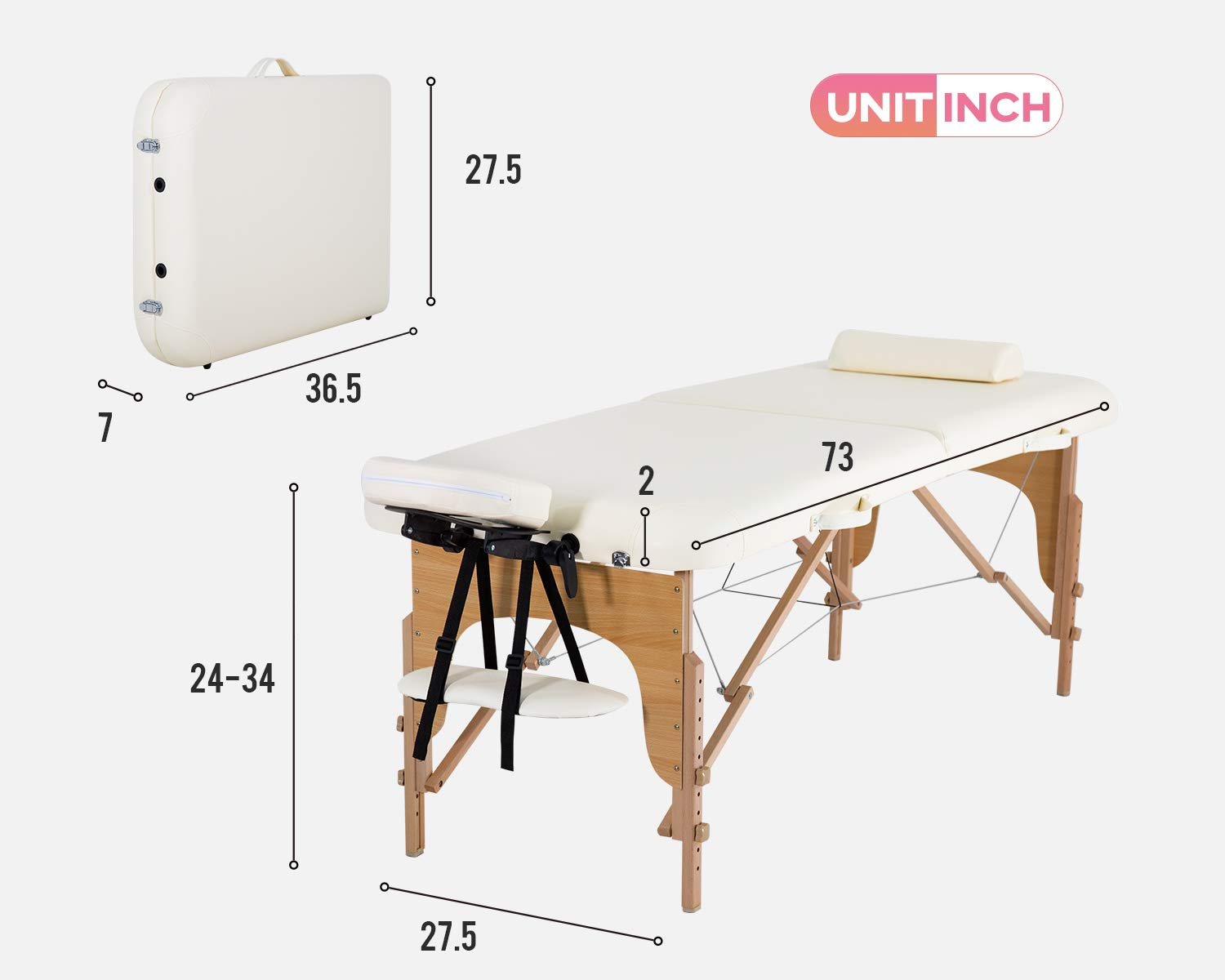 """Portable Massage Table Massage Bed Spa Bed 73"""" L 28""""W Height Adjustable Massage Table With Bolsters Carry Case 2 Fold Portable Salon Bed (Cream) : Beauty & Personal Care"""