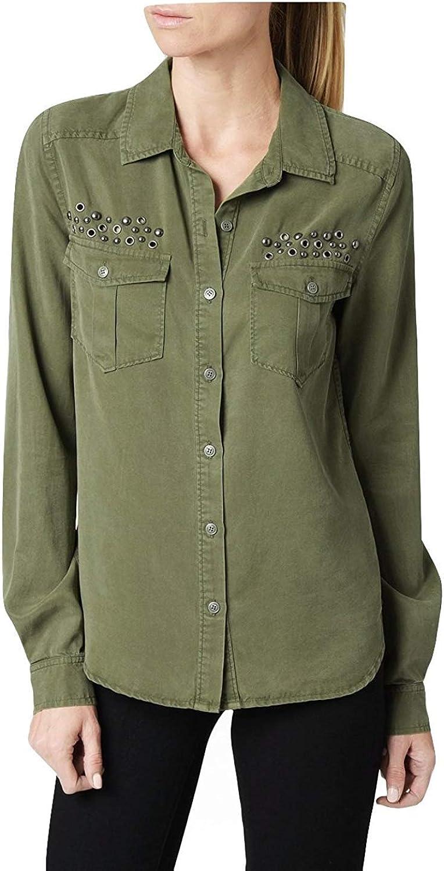 PAIGE Womens MYA Tencel Studded ButtonDown Top