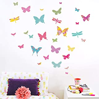 Koko Kids Shanghai Butterfly Wall Decals ~ Wall Stickers for Baby Nursery and Children's Rooms. Reusable Decals Made of Fabric, not Vinyl ~ Free from BPA & Phthalates. (Small)