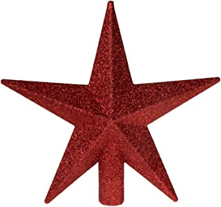 """Clever Creations Red Glitter Star Tree Topper Dimensional 5 Points   Festive Christmas Décor   Perfect Complement to Any Holiday Decoration   Unlit Shatter Resistant Sparkled Plastic   8"""" Tall"""