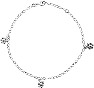 TONYS JEWELRY CO. Silver Anklet, Sterling Silver Oval Rolo Flower Station Anklet