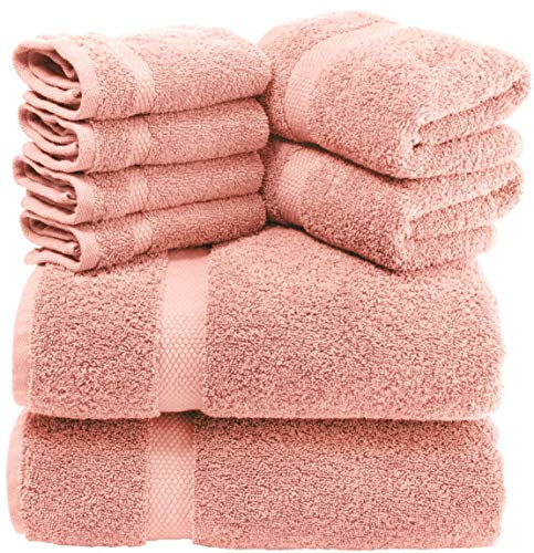 White Classic Luxury Pink Bath Towel Set - Combed Cotton Hotel Quality Absorbent 8 Piece Towels | 2...