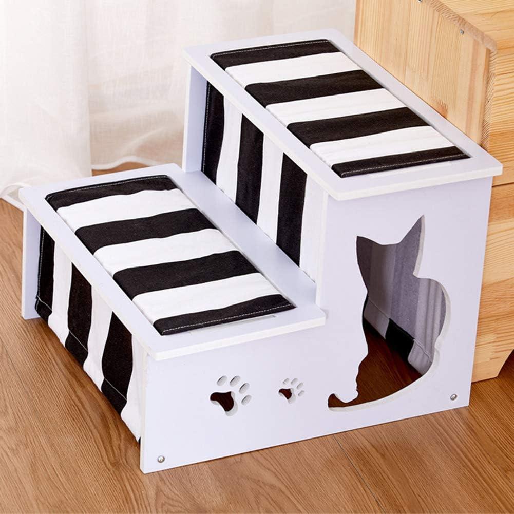 Escaleras De Madera para Mascotas 2 Escalones Rampa Portátil para Mascotas Extraíble Y Lavable Escalera De Escalada Desmontable para Mascotas Pequeñas