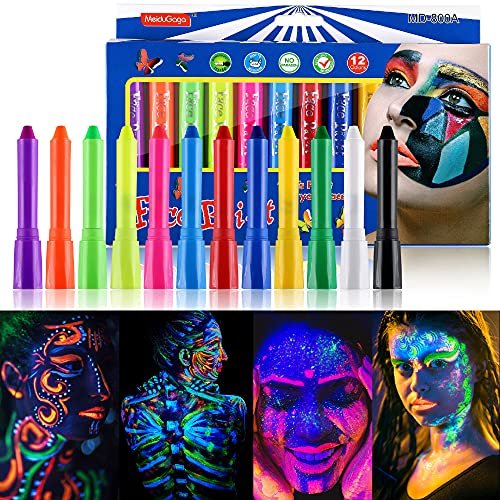 Wismee UV Face Paint Crayon Face Painting Kit for Kids with 6 Fluorescent Colors and 6 Regular Colors Washable Twistable Crayons Kit Water Based Body Paint Sticks for Halloween Makeup Marker for Face