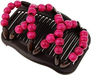 Baoblaze 髪櫛 ヘアピン ダブルクリップ 髪型作り 髪留め 木製ビーズ 装飾 便利 全4色   - ローズレッド
