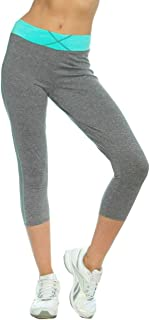 Cropped Leggings for Womens Yoga Tight Pants Wide High Waist Band (S2-21193)