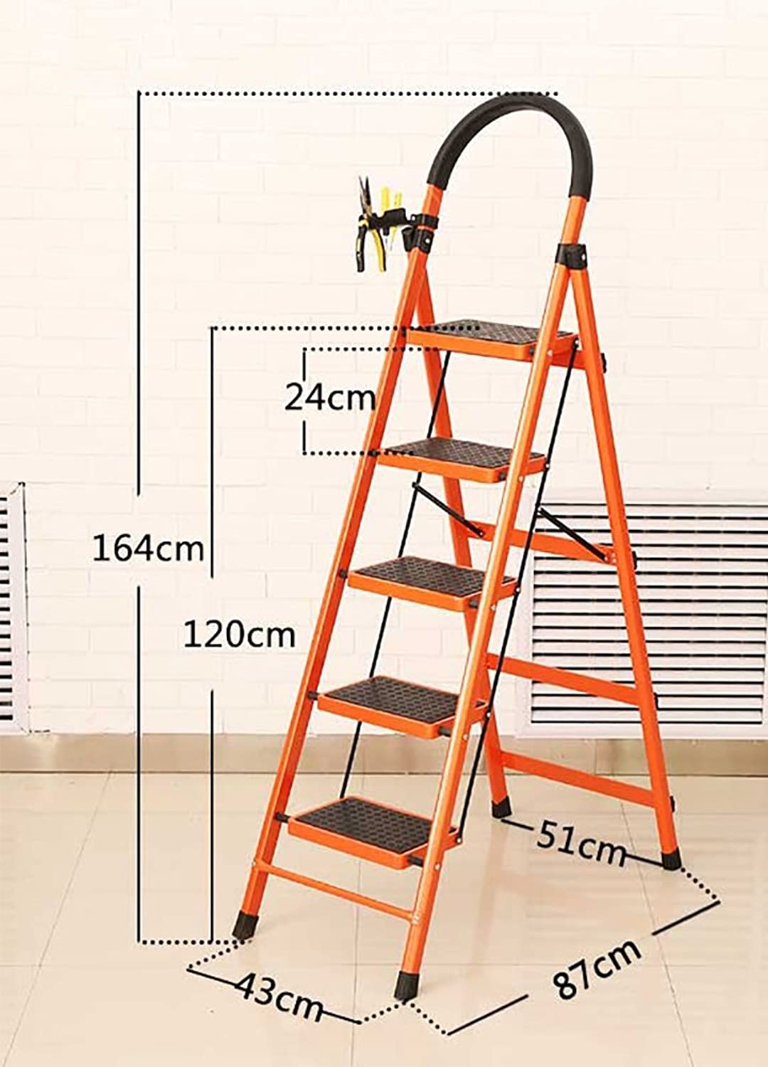 DDSS Step stool - Adult Small Folding Stool - Household Folding Ladder - with Handle and Non-Slip Pedal - Heavy Folding Footstool Ladder Multifunctional Stool (color   orange, Size   43  87  164cm)