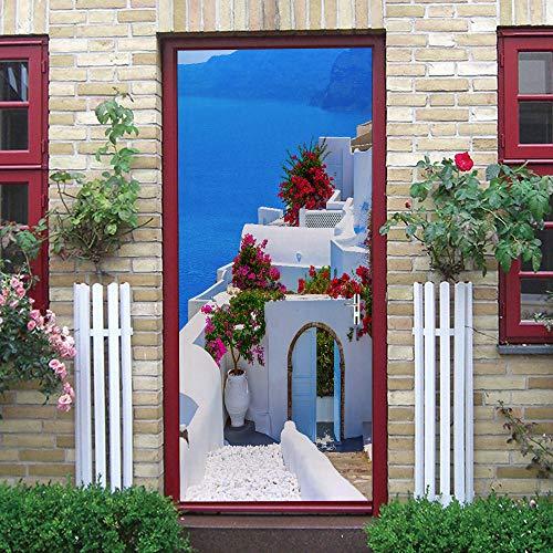 WXhGY 3D Adhesivo para Puerta Paisaje De La Casa Frente Al Mar PVC Autoadhesivo Impermeable Papel Pintado Puerta Mural Puertas Pegatinas para Puerta Cocina salón Dormitorio Cuarto de baño 77x200cm