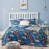 Umchord Dinosaur Kids Comforter Sets for Boys, Twin Size 5-Pieces Bed in a Bag, Super Soft Lightweight Microfiber Bedding Set, All Season Durable Children Bed Set