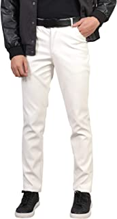 AIEOE Men's leather jeans, soft PU leather trousers, waterproof and windproof.