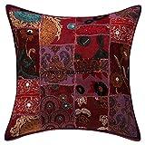 Janki Creation Zierkissen Bezug 40,6 x 40,6 cm Baumwolle indische Handarbeit Patchwork Bestickt...