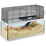 ferplast gabbia per gerbilli gabry 80 piccoli roditori, struttura su due piani, accessori inclusi, vasca in vetro e rete in metallo verniciato nero, 79 x 30,5 x h 51,4 cm