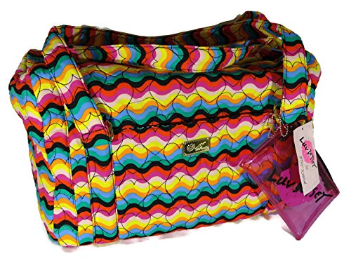 Betsey Johnson Weekender Overnighter Duffle Bag - Quilted Hearts Rainbow
