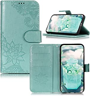 IVY Moto E5 Play Wallet Cases [3D Lotus] PU Leather Cover Wallet Phone Case for Motorola Moto E5 Play/Moto E5 Cruise- Green