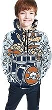 Wolf Drummer Cartoon Boys Girls Warm 3D Hooded Sweaters Sweatshirts