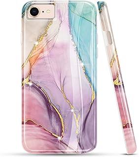 LUOLNH iPhone SE 2020 Hülle, iPhone 7 8 Hülle, Bling Glitzer Sparkle Rose Gold Marmor Design Klar Bumper Glänzend TPU Weich Gummi Silikon Skin Cover Case für iPhone SE 2020/6 6S 7 8 (Pink & Grün)