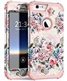 Hocase iPhone 6s Plus Case, iPhone 6 Plus Case, Heavy Duty Shockproof Protection Hard Plastic+Silicone Rubber Protective Case for iPhone 6 Plus/6s Plus w/ 5.5' Display - Peony Flower/Rose Gold