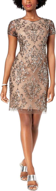 Adrianna Papell Women's Short Fully Beaded Dress