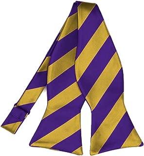 TieMart Dark Purple and Gold Striped Self-Tie Bow Tie