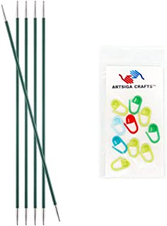 Knitter's Pride Knitting Needles Zing Double Pointed 6 inch Size US 2.5 (3mm) Bundle with 10 Artsiga Crafts Stitch Markers 140005