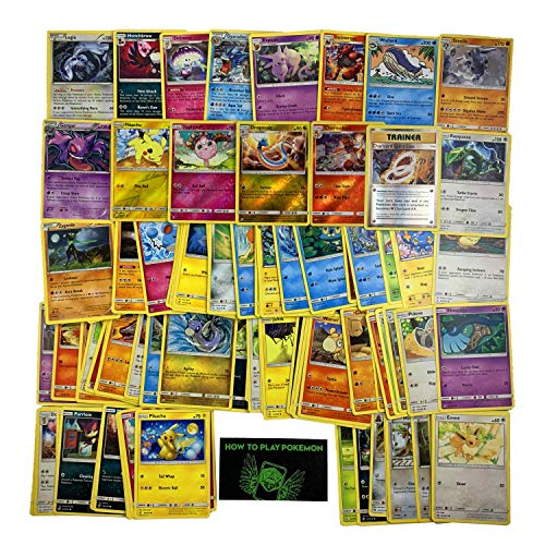 100 Pokemon Cards with 10 Rares, 5 Foils, and How to Play Pokemon Instructions!
